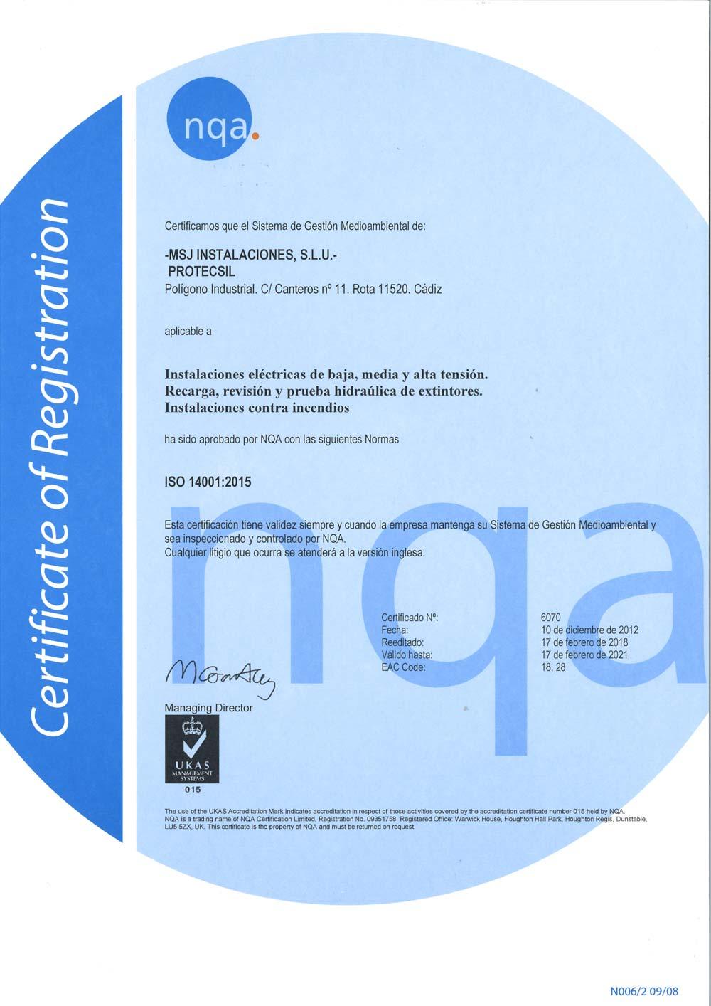 Certificado ISO 14001 Protecsil