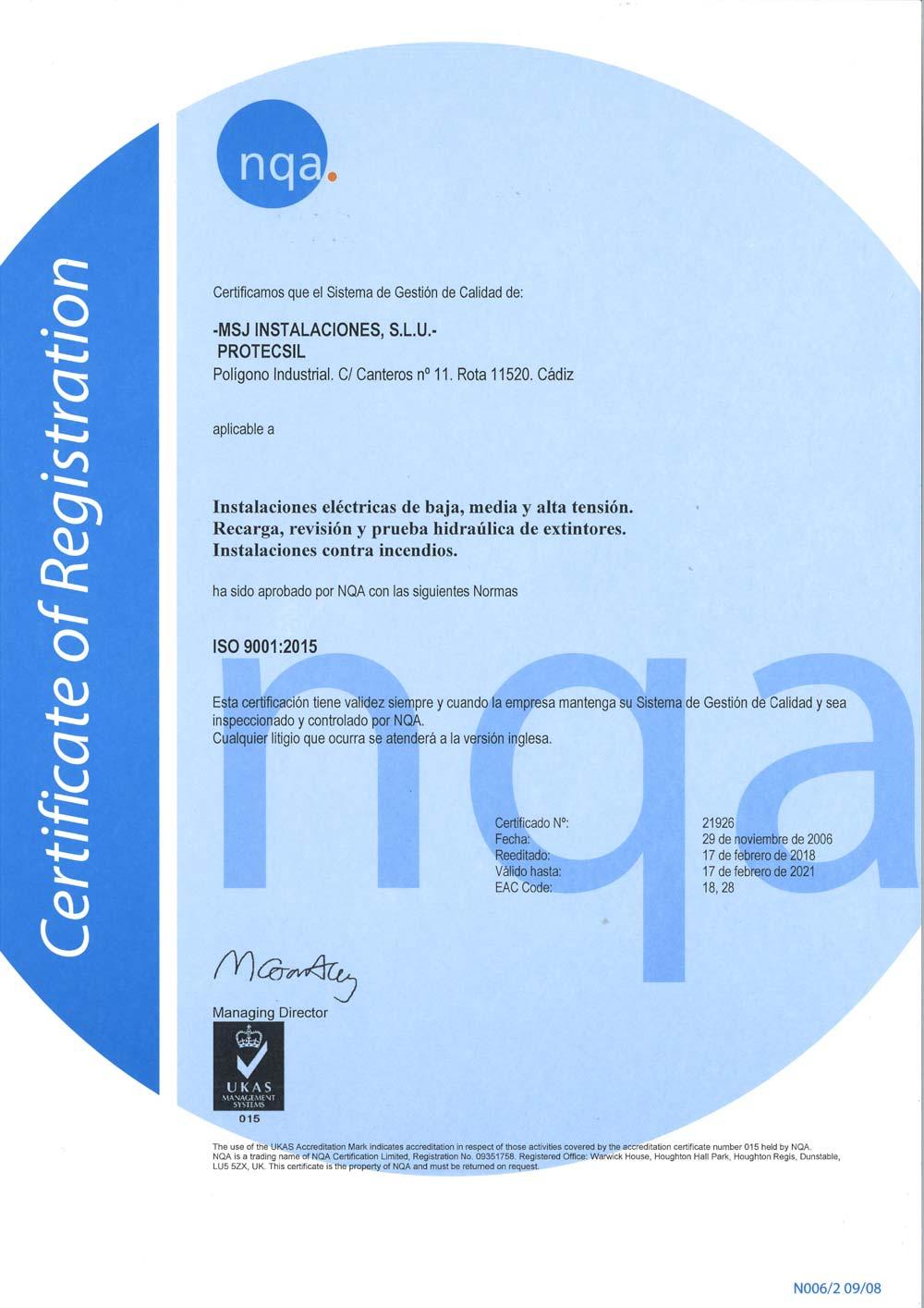 Certificado ISO 9001 Protecsil